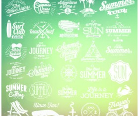 Summer vacation travel labels with logos vector 03