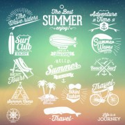 Link toSummer vacation travel labels with logos vector 04