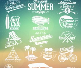 Summer vacation travel labels with logos vector 04