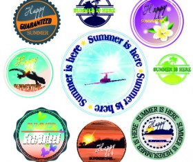 Summer vacation travel labels with logos vector 05