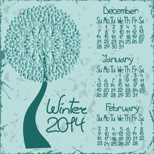 2014 year calendar vector set 03