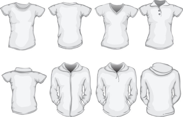 Clothes template design vector 04 vector life free download for Clothing templates for illustrator