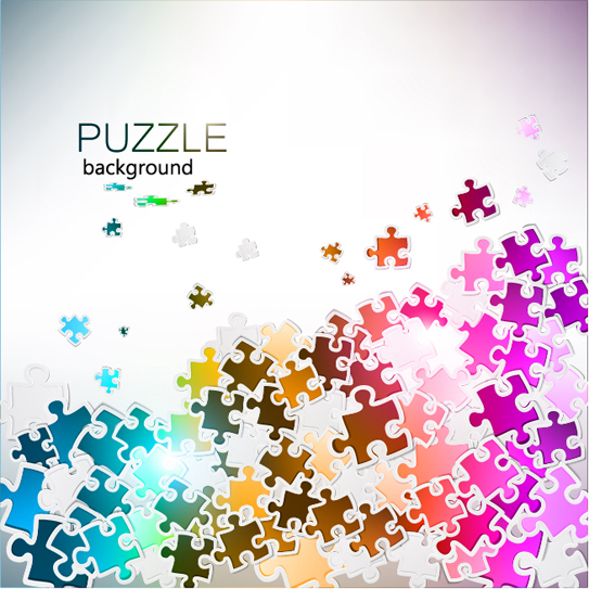Puzzle Pieces Background Free Vector Shiny Puzzle Background Vector