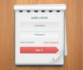 Notes style login boxes psd