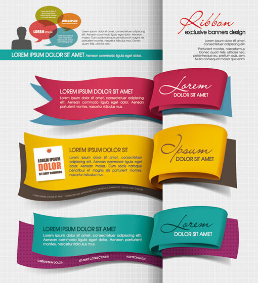 Color Bookmarks design elements vector 01