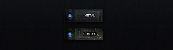 Retro Metal Button psd