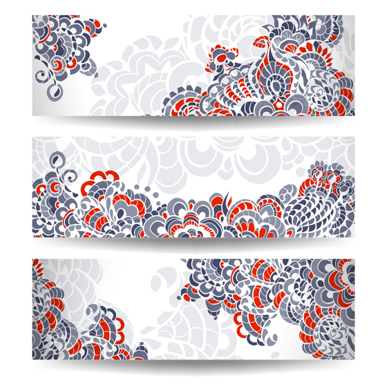 Colored Floral Fonts Abstract Color Floral Banner