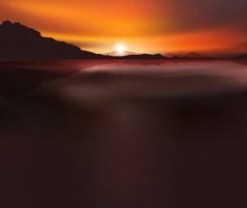 Beautiful sunset scenery vector 01