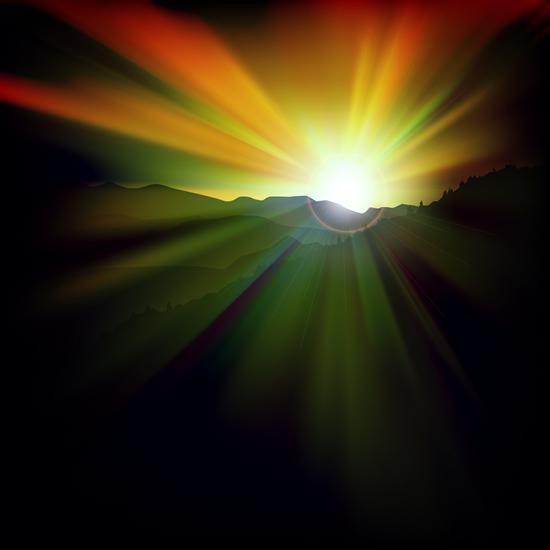 Beautiful sunset scenery vector 02