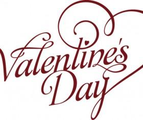 Valentine Day art text design vector
