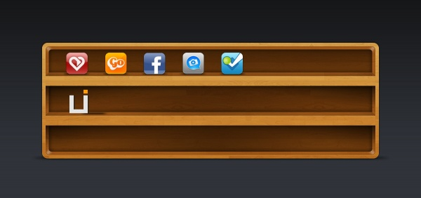 Wooden frame and icons psd