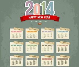 Calendar 2014 design vector 01