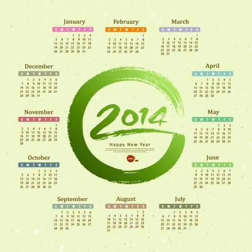 Calendar 2014 design vector 02