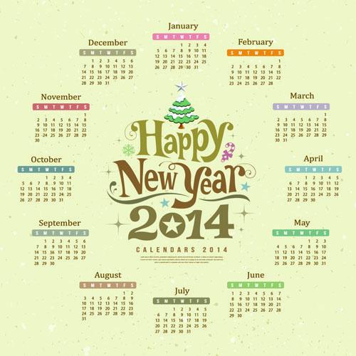 Calendar 2014 design vector 03