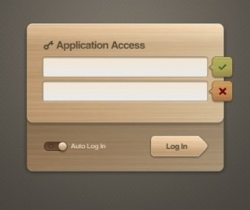 Wooden login boxes psd