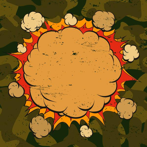 Cartoon explosion frames vector set 10