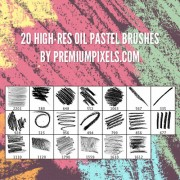 20 kind high-res oil pastel brushes