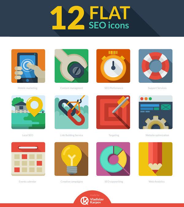 12 Kind flat seo icons psd