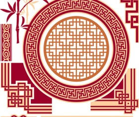 Chinese style floral decorative elements 03