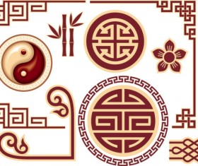 Chinese style floral decorative elements 04
