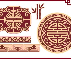 Chinese style floral decorative elements 05