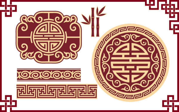 Chinese Style Floral Decorative Elements 05 Vector