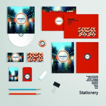 Autumn rain style corporate kit vector