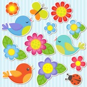 Link toBird and butterfly and ladybug with flower sticker vector