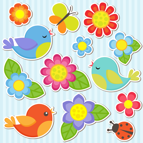 Free Download Bird And Butterfly Ladybug With Flower