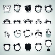 Link toBlack and white alarm clock design vector