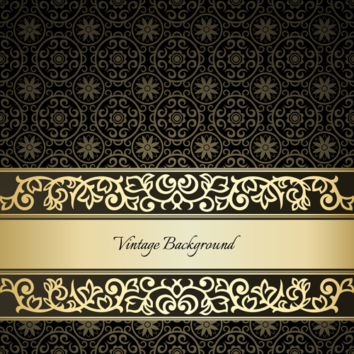Black pattern vintage Backgrounds vector 03 free download