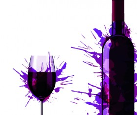 Wine Bottle with Splash Effect vector 01