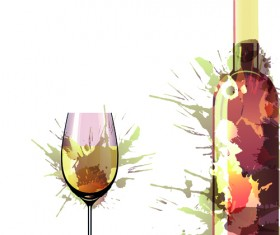 Wine Bottle with Splash Effect vector 03