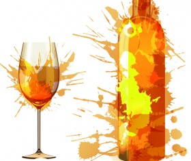 Wine Bottle with Splash Effect vector 04