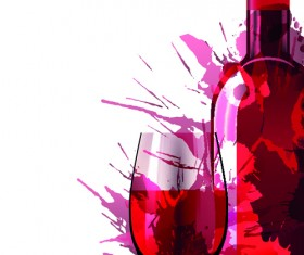 Wine Bottle with Splash Effect vector 05