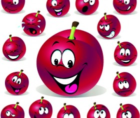 Cartoon Funny Fruit vector 02