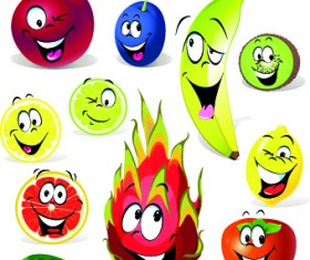 Cartoon Funny Fruit vector 04