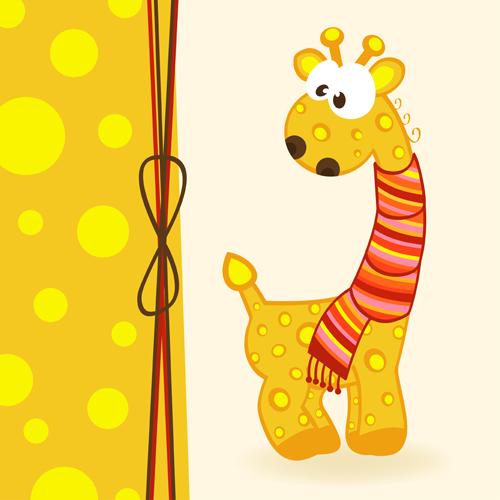 Cute Animals cards art vector 06