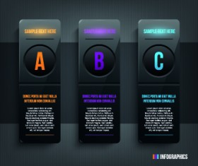 Dark style numbers banners vector 01