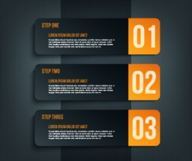 Dark style numbers banners vector 02