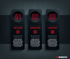 Dark style numbers banners vector 03