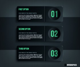 Dark style numbers banners vector 04