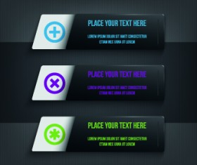 Dark style numbers banners vector 05