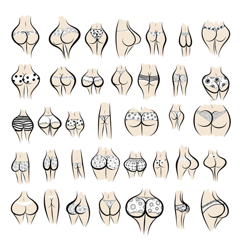 Different Female Buttocks design vector 03 - Vector People free ...