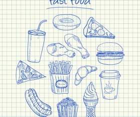 Hand Drawn Fast food elements 02