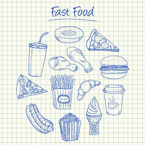Hand Drawn Fast food elements 02