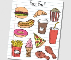 Hand Drawn Fast food elements 03