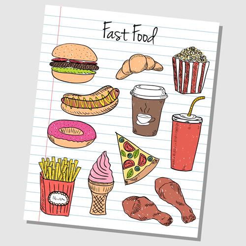 Hand Drawn Fast food elements 03