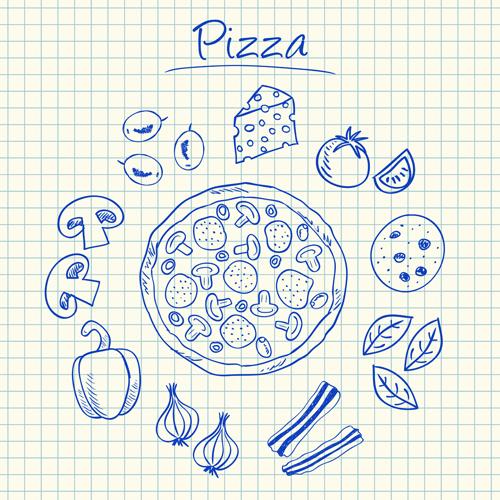 Hand Drawn Fast food elements 04