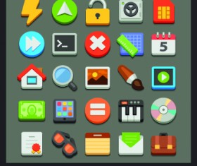 Different Flat icons vector set 02
